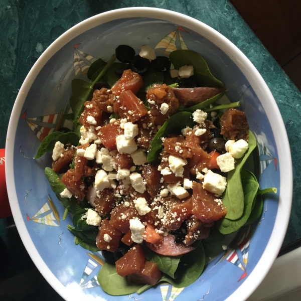 Best Place to eat in Guam- Tuna and Feta Salad homemade