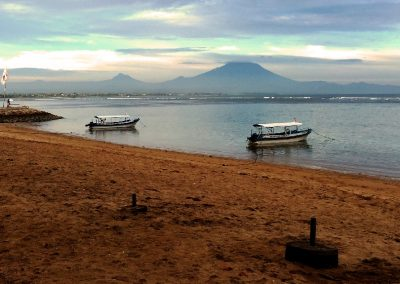 Sanur Beach with mountain view